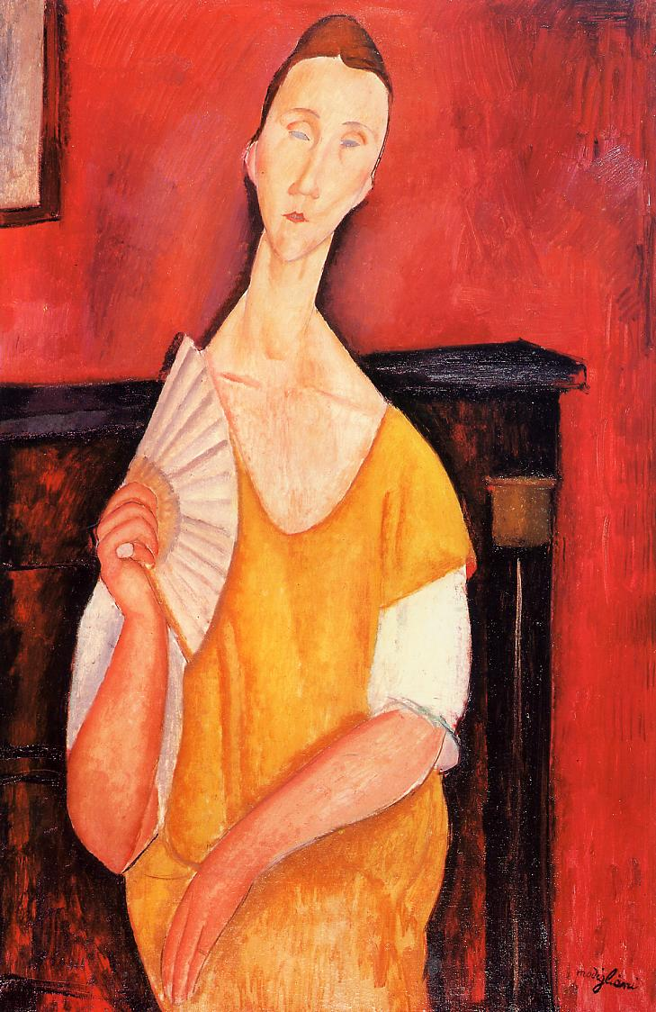 Woman with a Fan (Lunia Czechowska), 1919 by Amedeo Modigliani