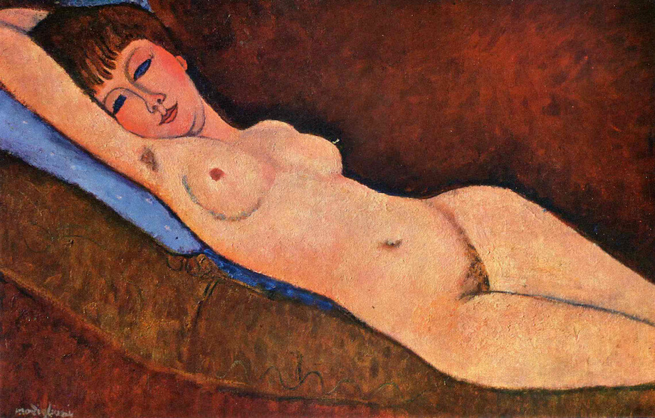 Reclining Nude with Blue Cushion, 1917 by Amedeo Modigliani